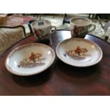 Pair of 19th. C. King William of Orange No Surrender ceramic cups and matching saucers