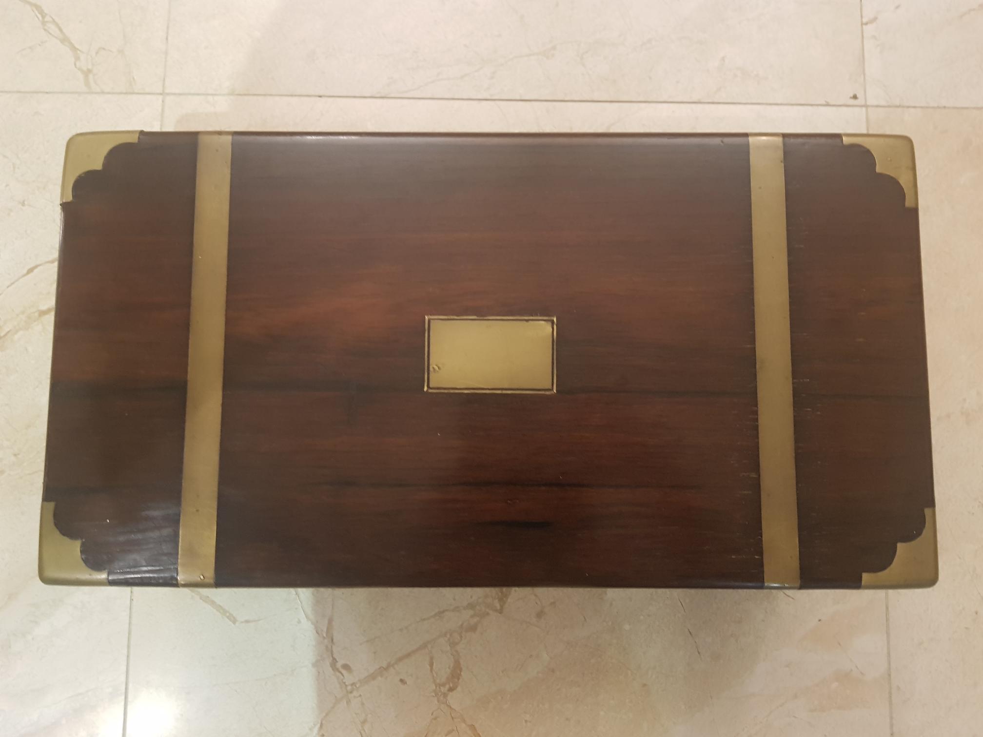 Georgian mahogany brass bound writing slope - Image 2 of 3