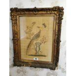 19th C. framed silk tapestry.