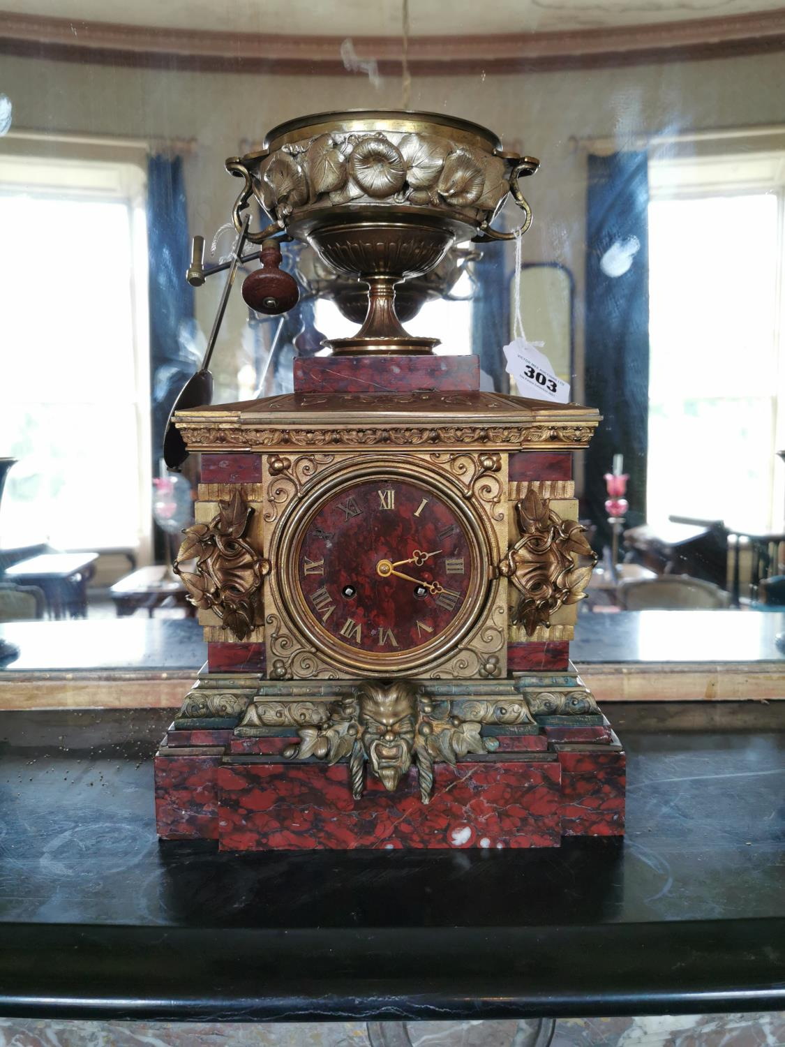 19th. C. rouge marble and gilded brass mantle clock