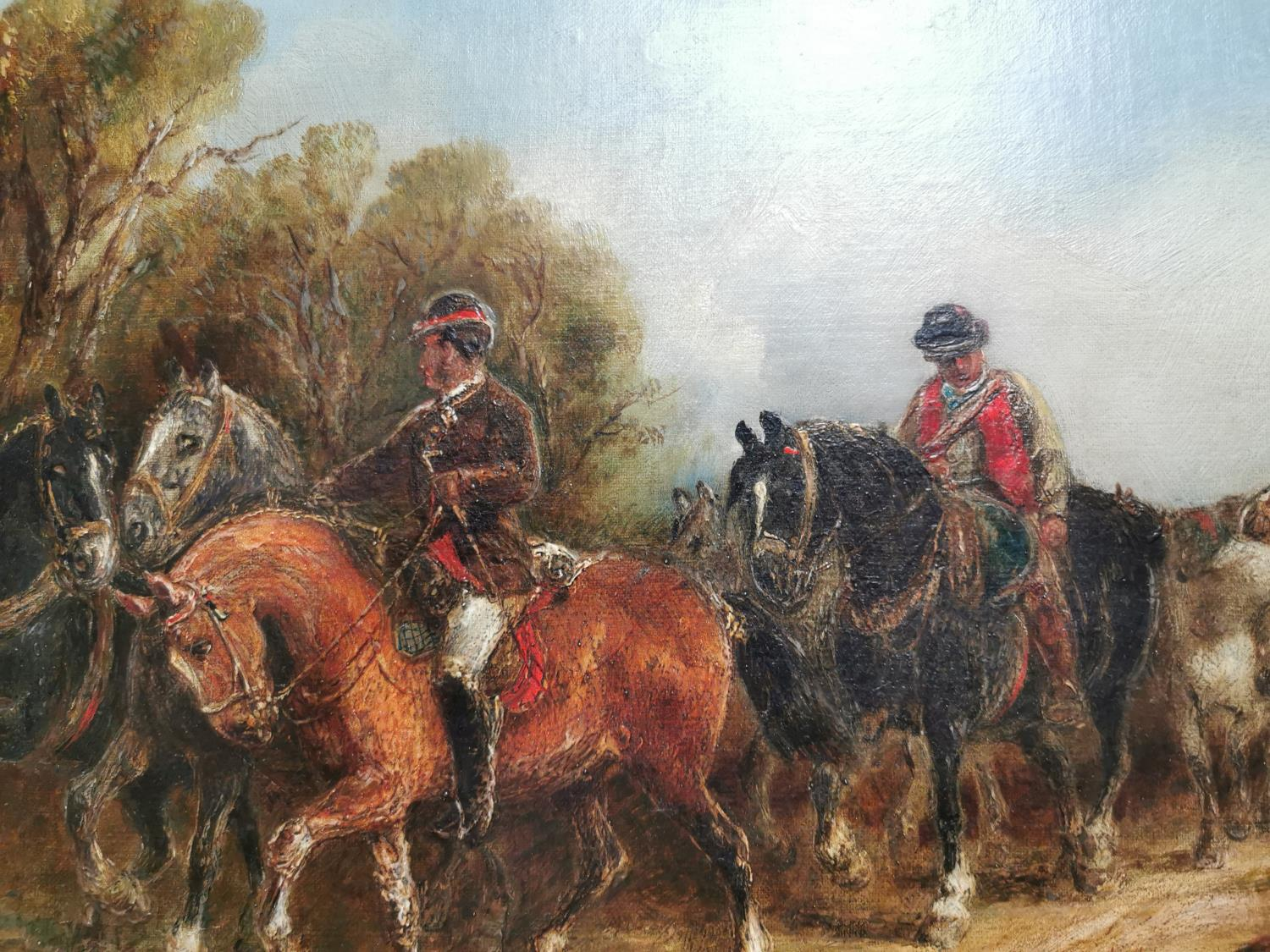 19th C. Oil on Canvas Going To The Market - Image 2 of 3