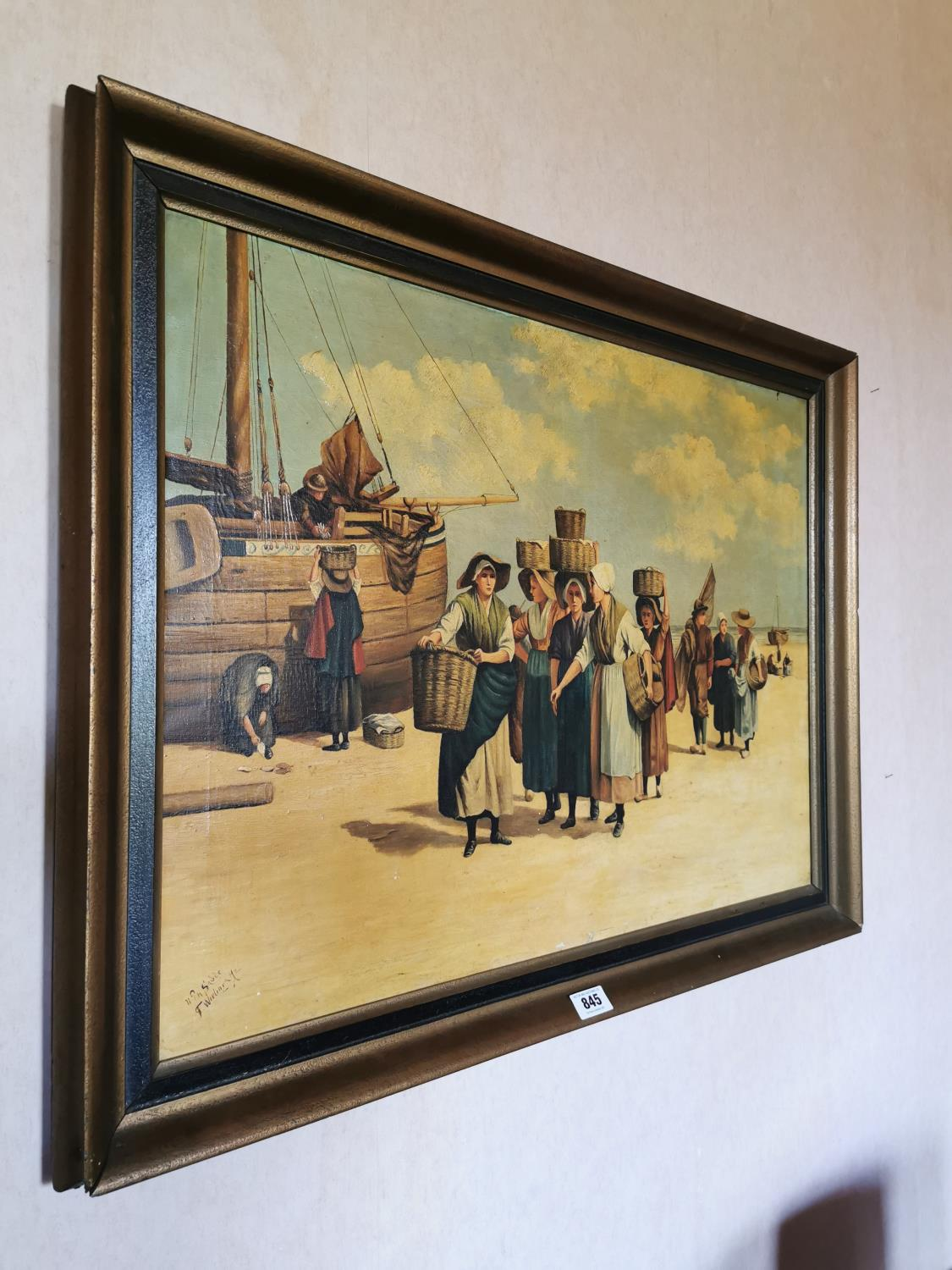 Framed Oleograph Ship Coming Home. - Image 2 of 2