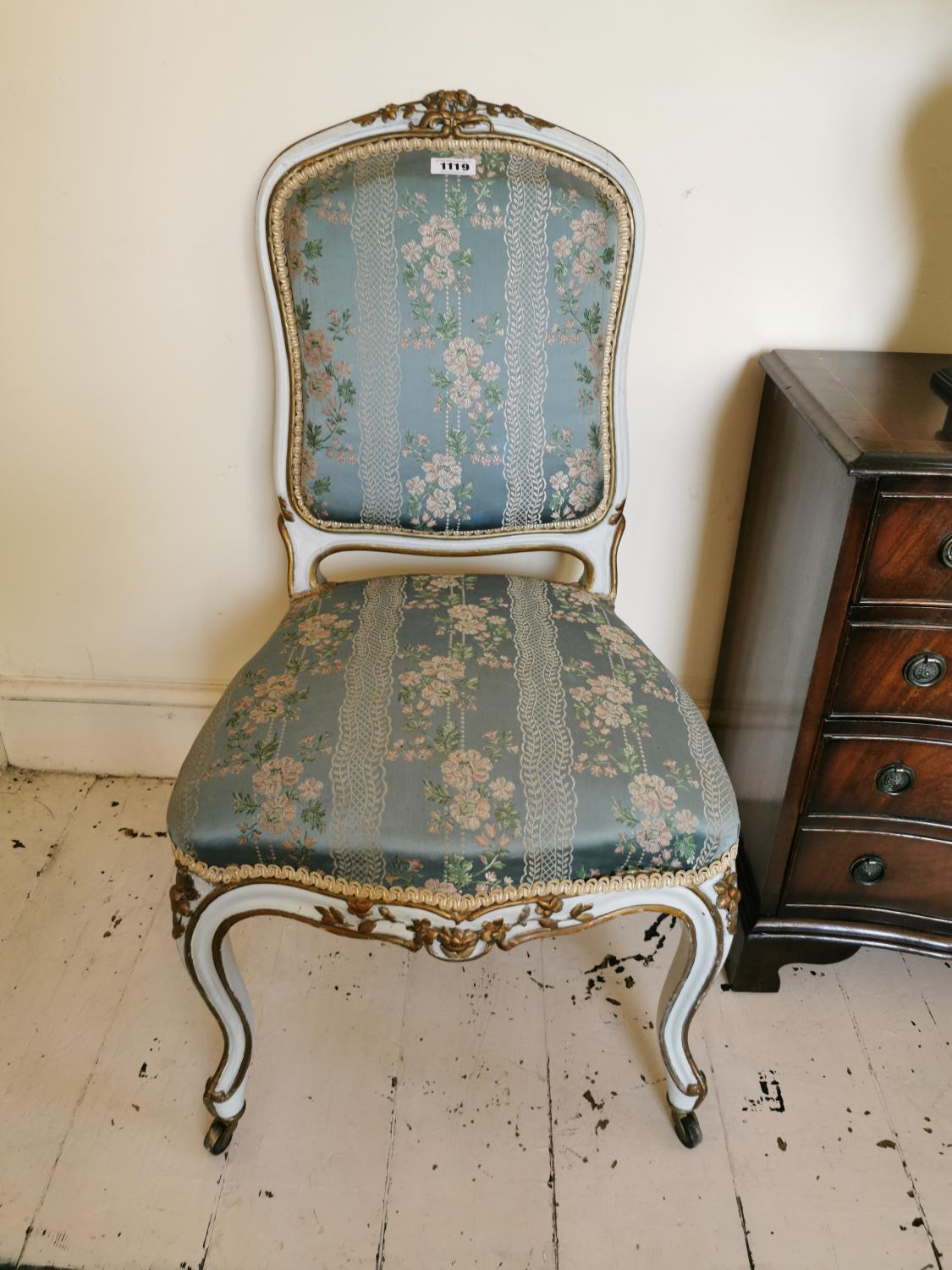 Pair of 19th C. giltwood French side chairs.