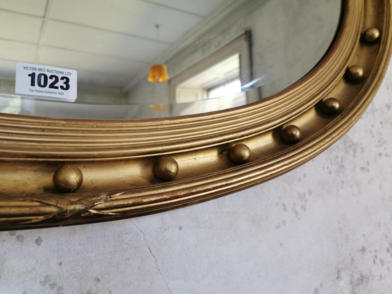 19th. C. giltwood over mantle mirror. - Image 2 of 2