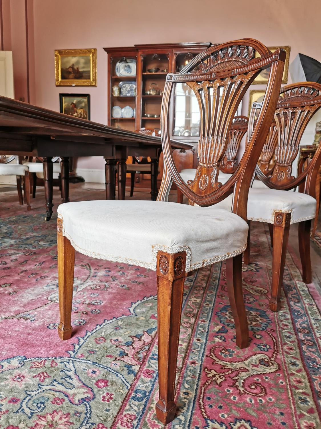 Set of ten plus two Edwardian mahogany dining chairs. - Image 6 of 6