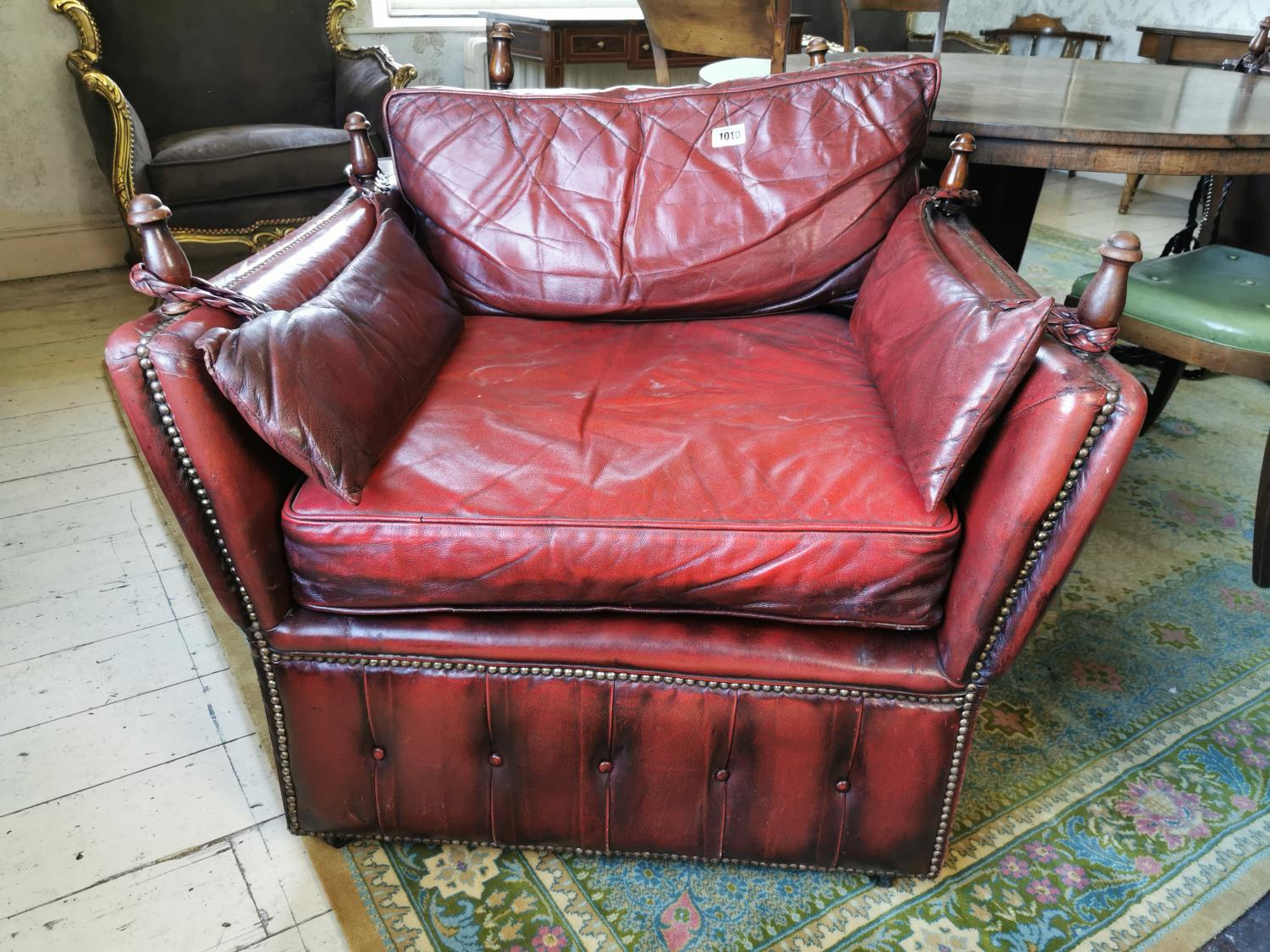 Pair of unusual ox blood leather club chairs. - Image 3 of 5