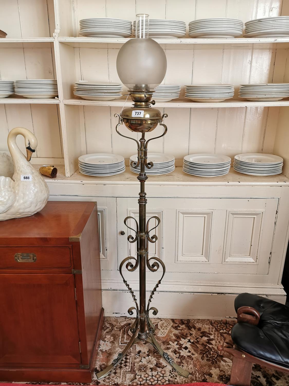19th. C. brass standard lamp