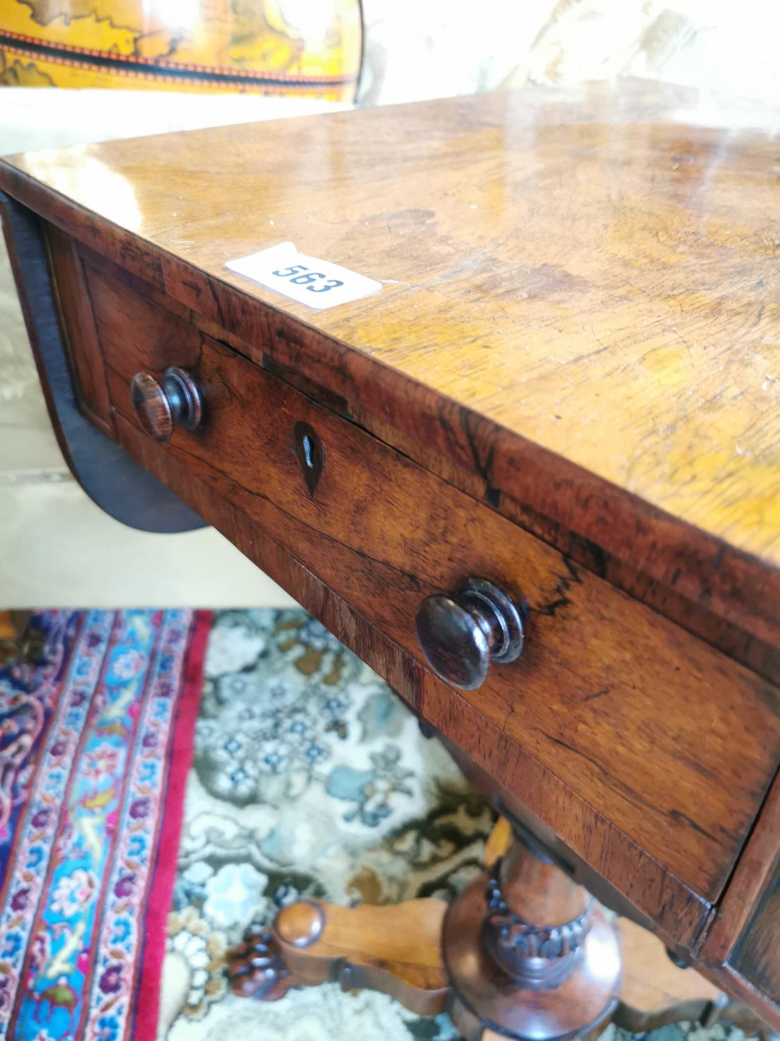 19th C. rosewood lamp table. - Image 3 of 4