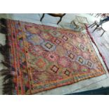 Decorative Oriental Kilim hand knotted carpet square.