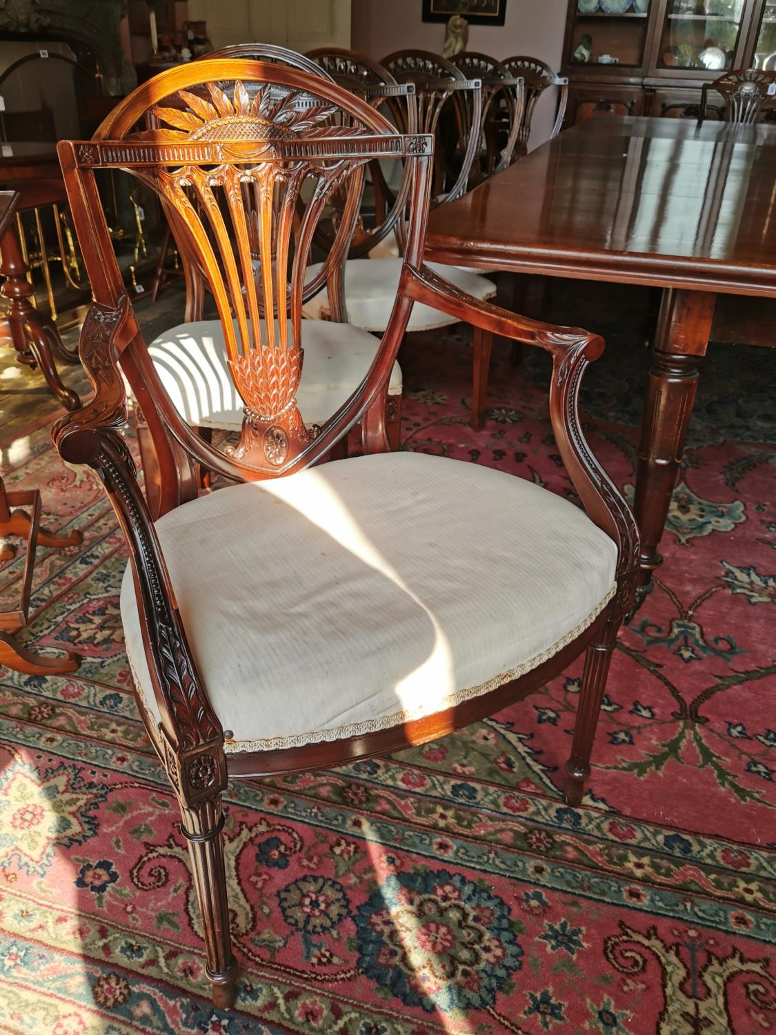 Set of ten plus two Edwardian mahogany dining chairs. - Image 2 of 6
