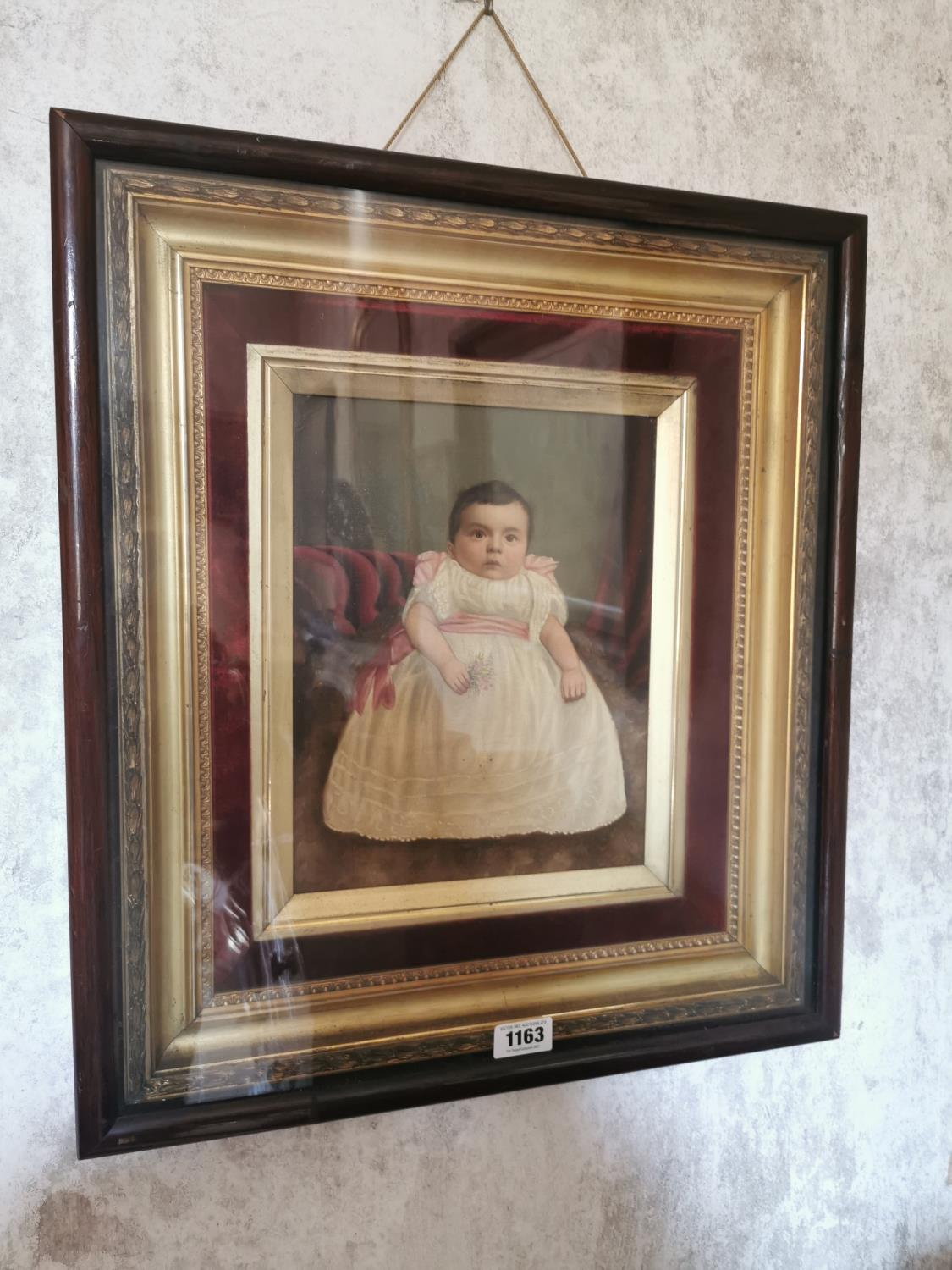 18th C. oil on canvas portrait of child.