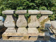 Set of four 18th C. cut limestone balustrades.