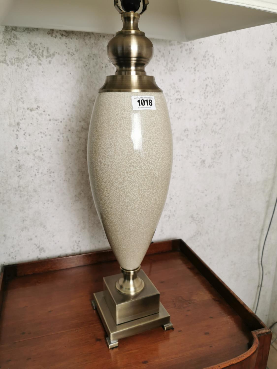 Brushed steel and ceramic table lamp. - Image 2 of 2