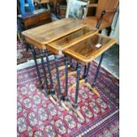 Edwardian inlaid rosewood nest of three tables