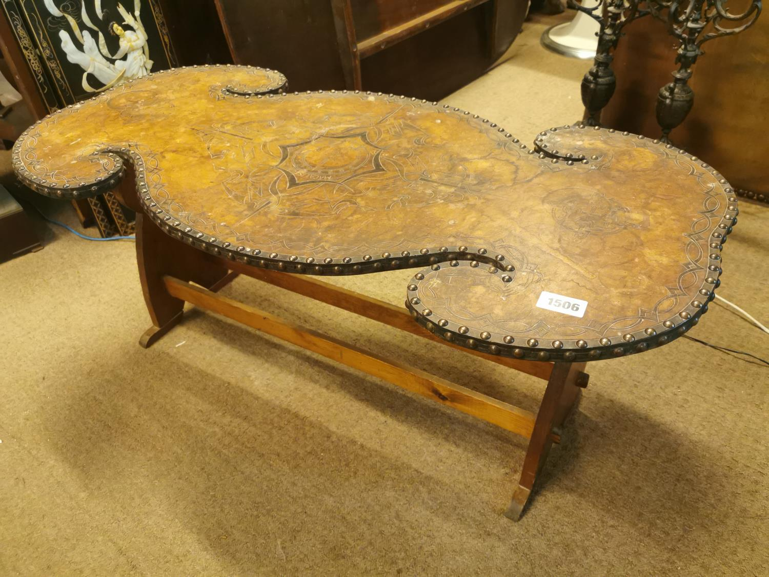 Prison Art table with tooled leather top