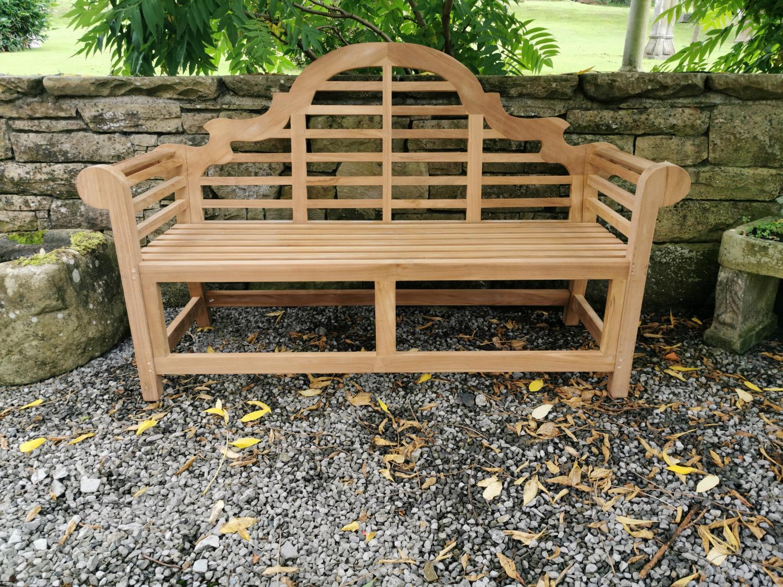 Lutyens teak garden bench.