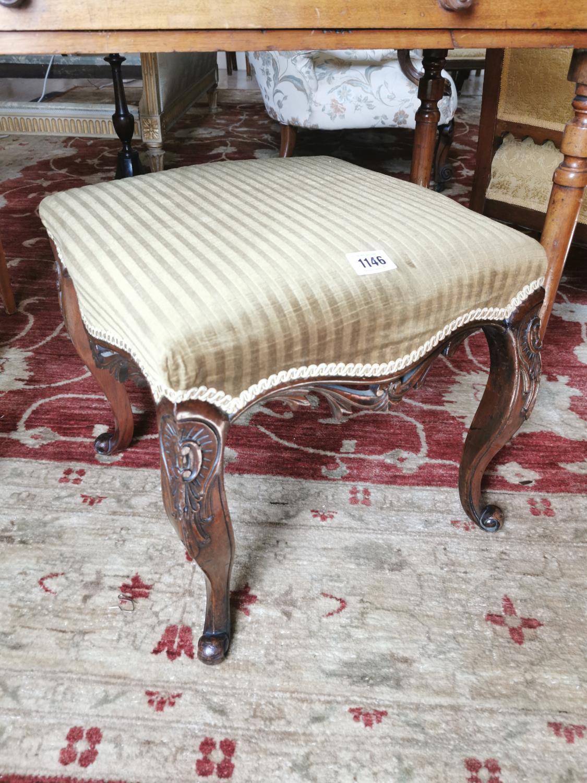 19th. C. carved mahogany foot stool.