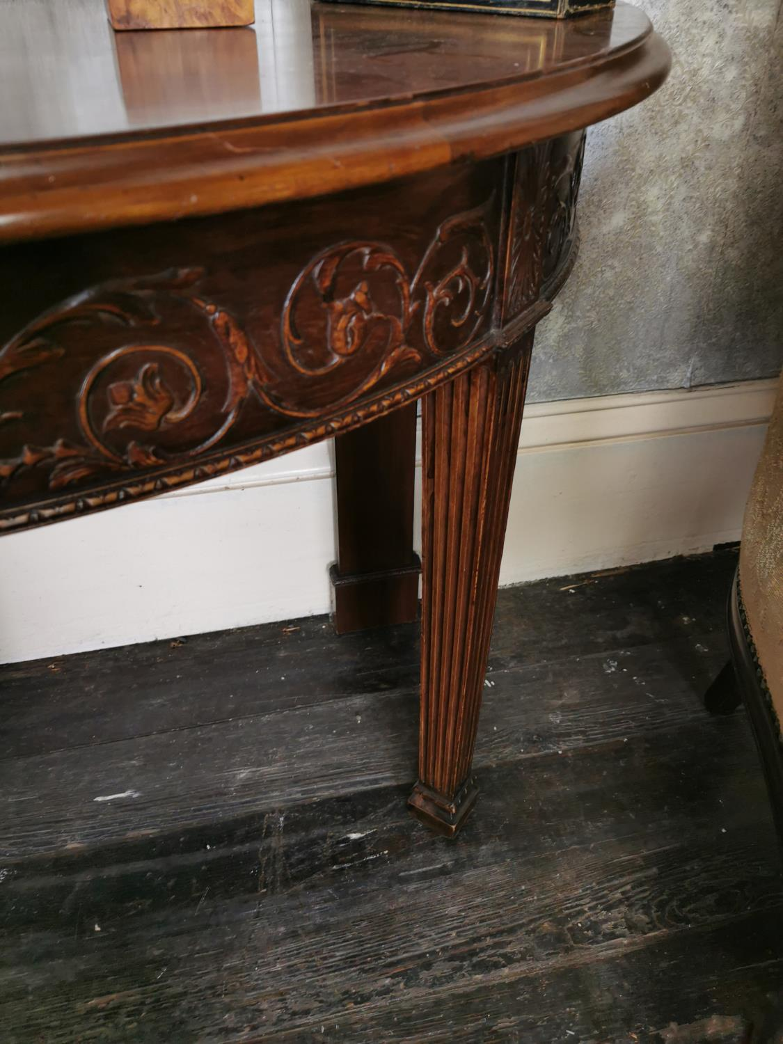 Pair of mahogany demi -lune side tables - Image 3 of 6