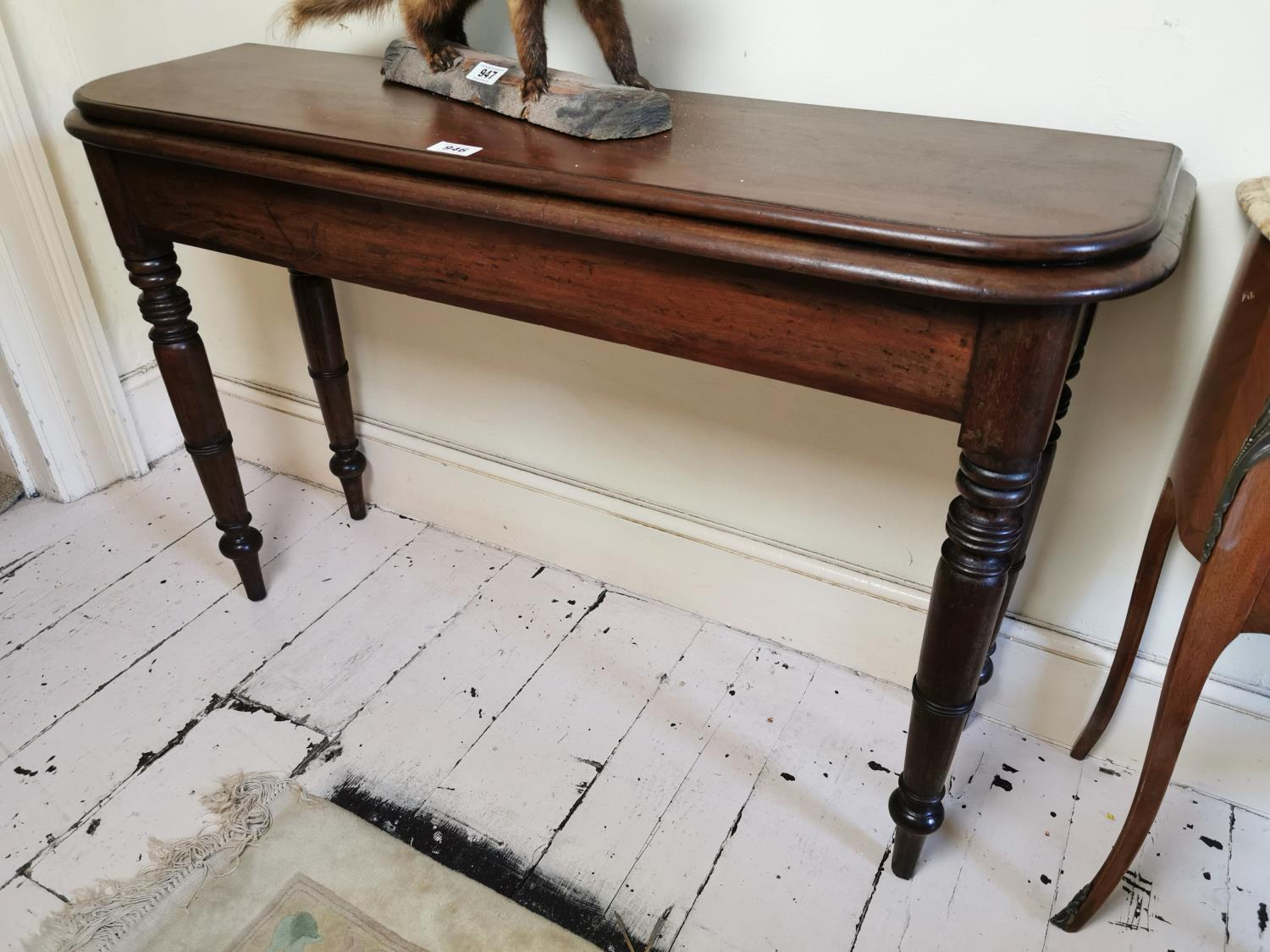 19th. C. mahogany D-end console table.