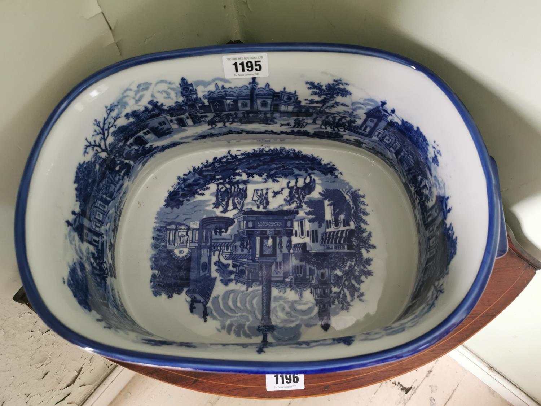 Decorative blue and white ceramic foot bath. - Image 2 of 2