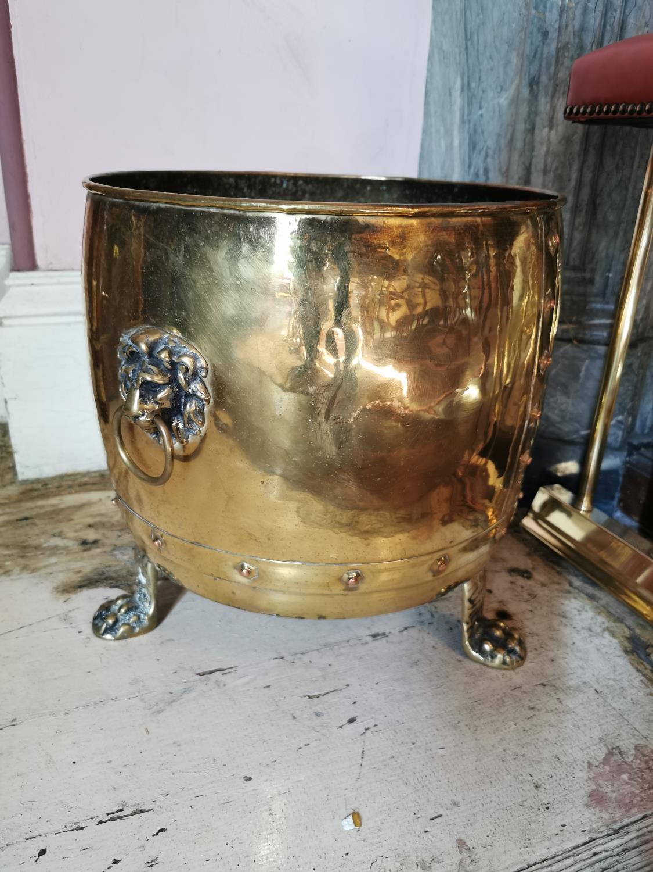 Rare pair of 19th C. brass log buckets. - Image 3 of 3