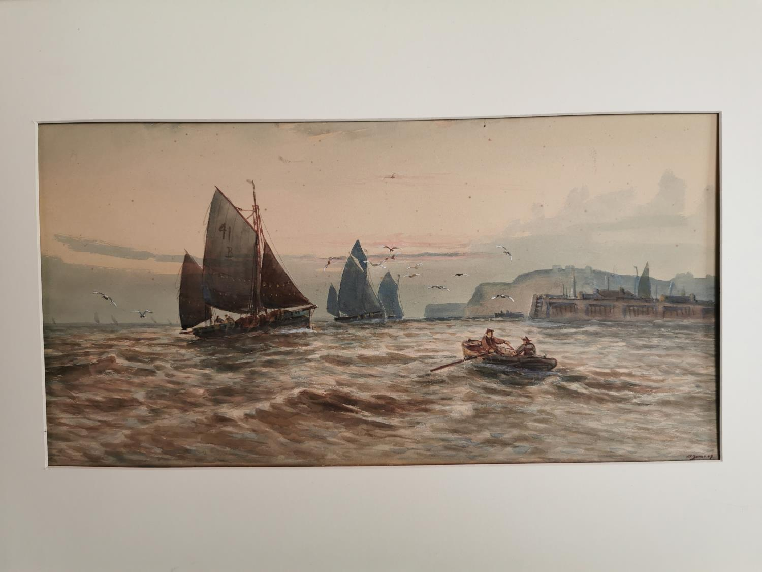 Early 20th C. watercolour Harbour scene. - Image 2 of 2