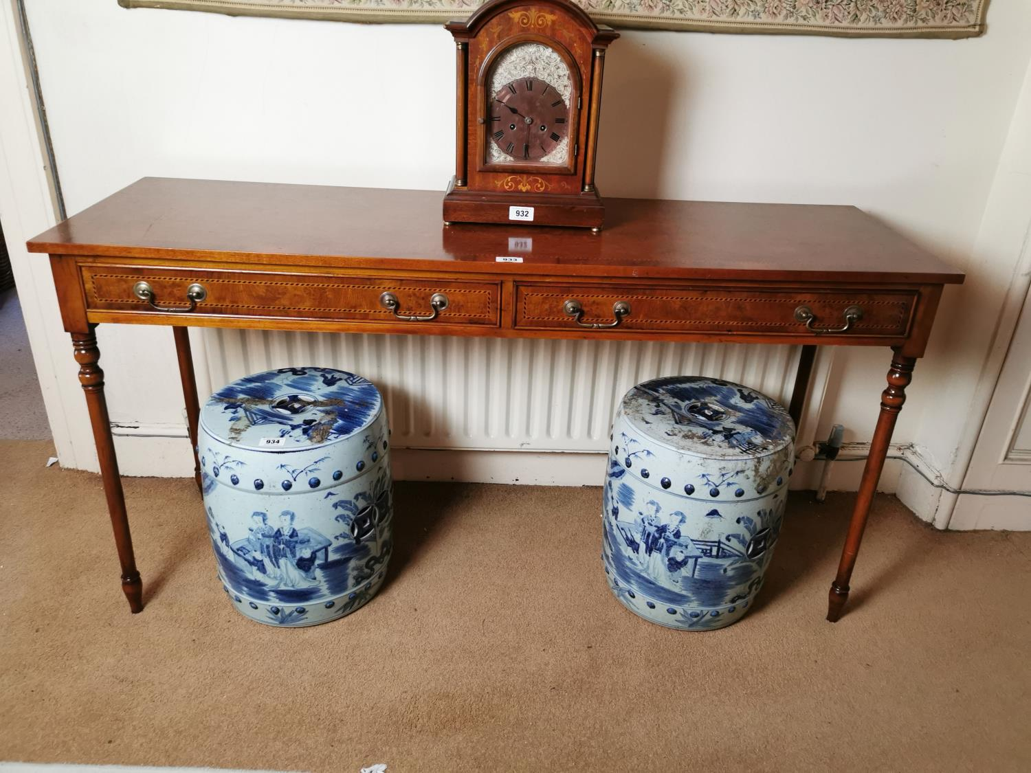 Burr walnut and inlaid satinwood side table.