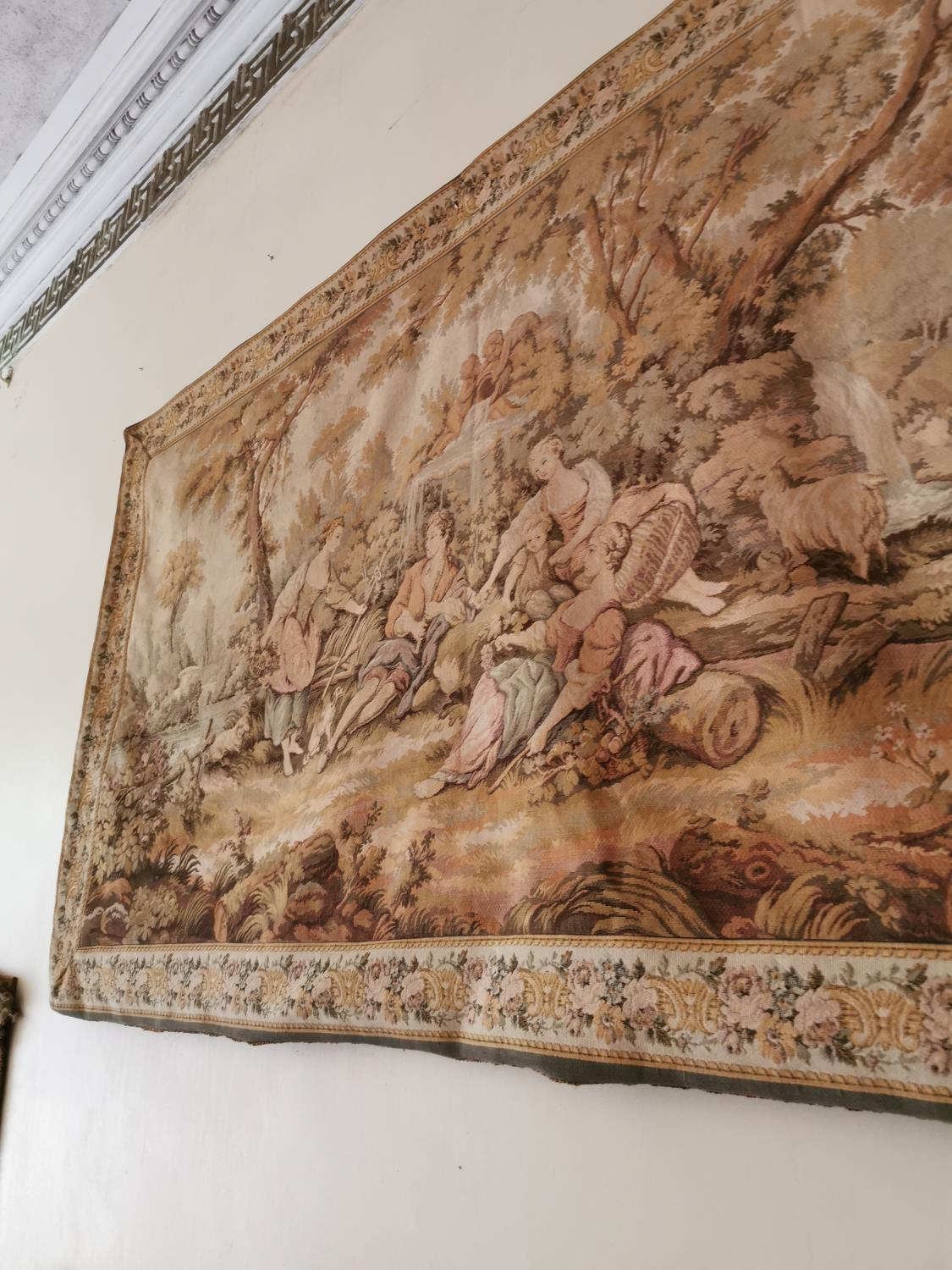 Early 20th C. tapestry Countryside scene. - Image 3 of 3