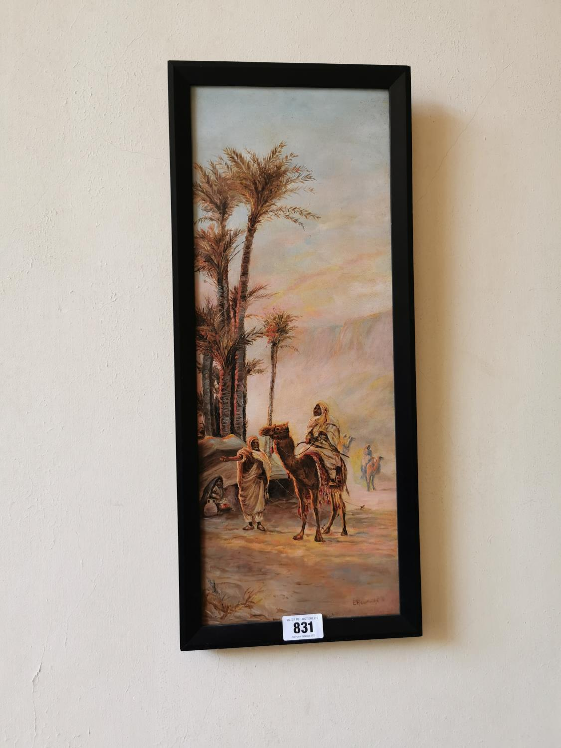 Pair early 20th C. oil on canvas Arabian scenes. - Image 2 of 3