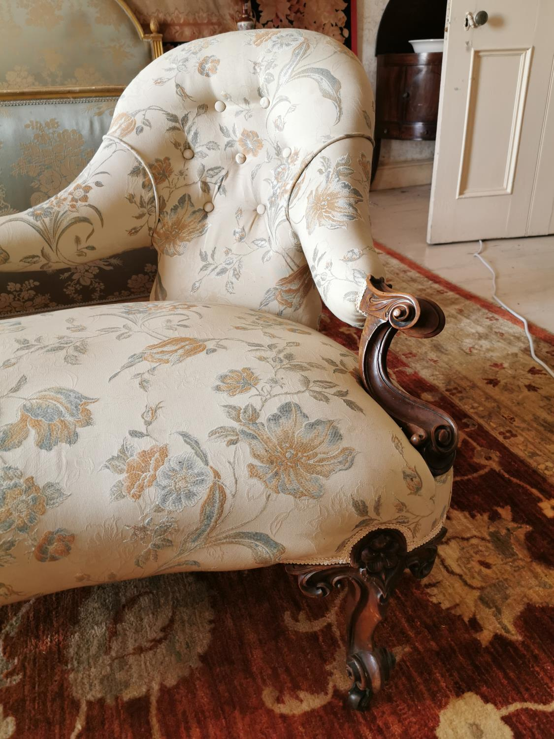 19th C. mahogany and upholstered conversation seat. - Image 2 of 4