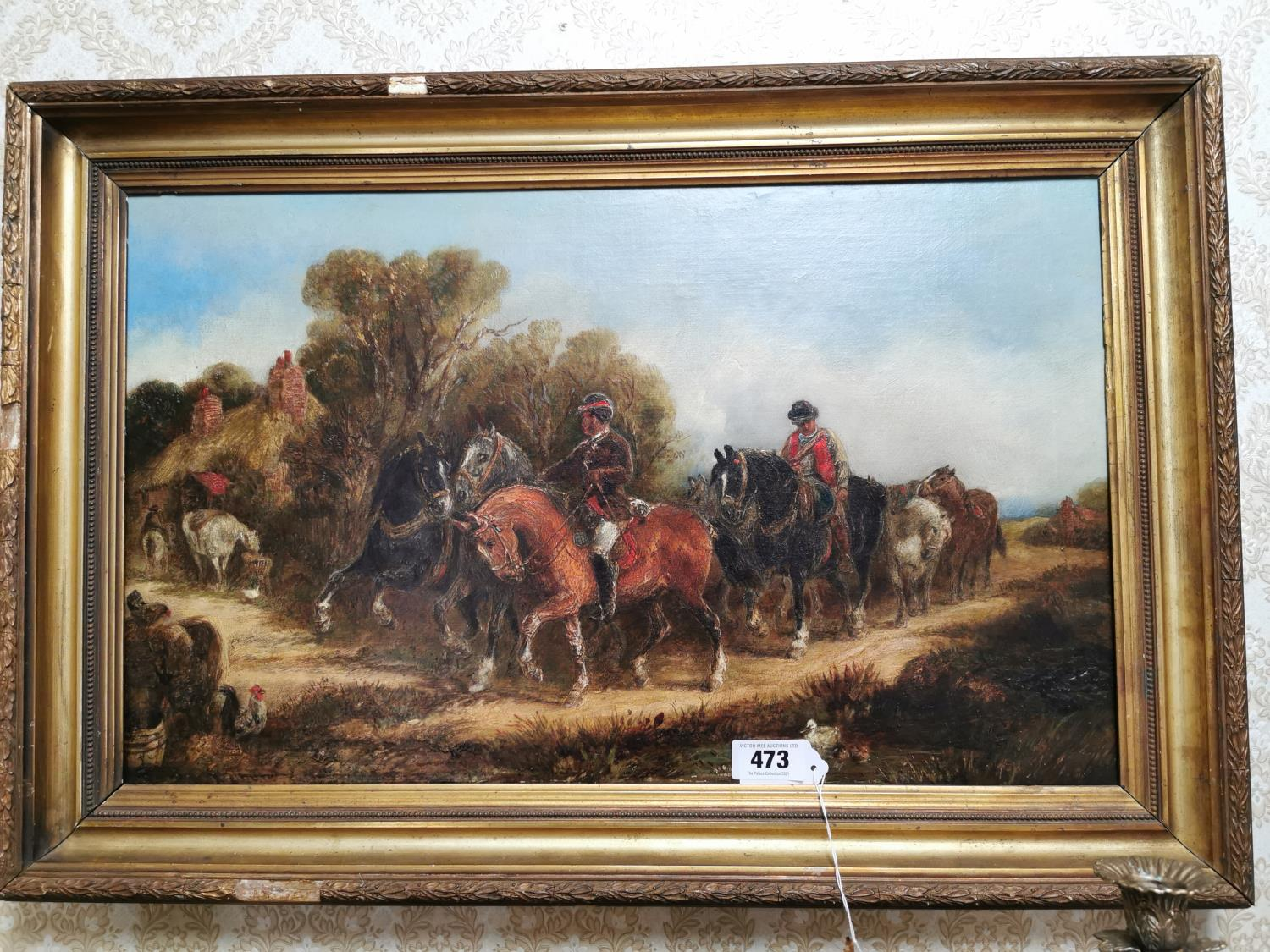 19th C. Oil on Canvas Going To The Market