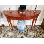 Good quality pair of inlaid satinwood demi - lune tables