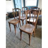 Set of four early 20th C. bentwood chairs.