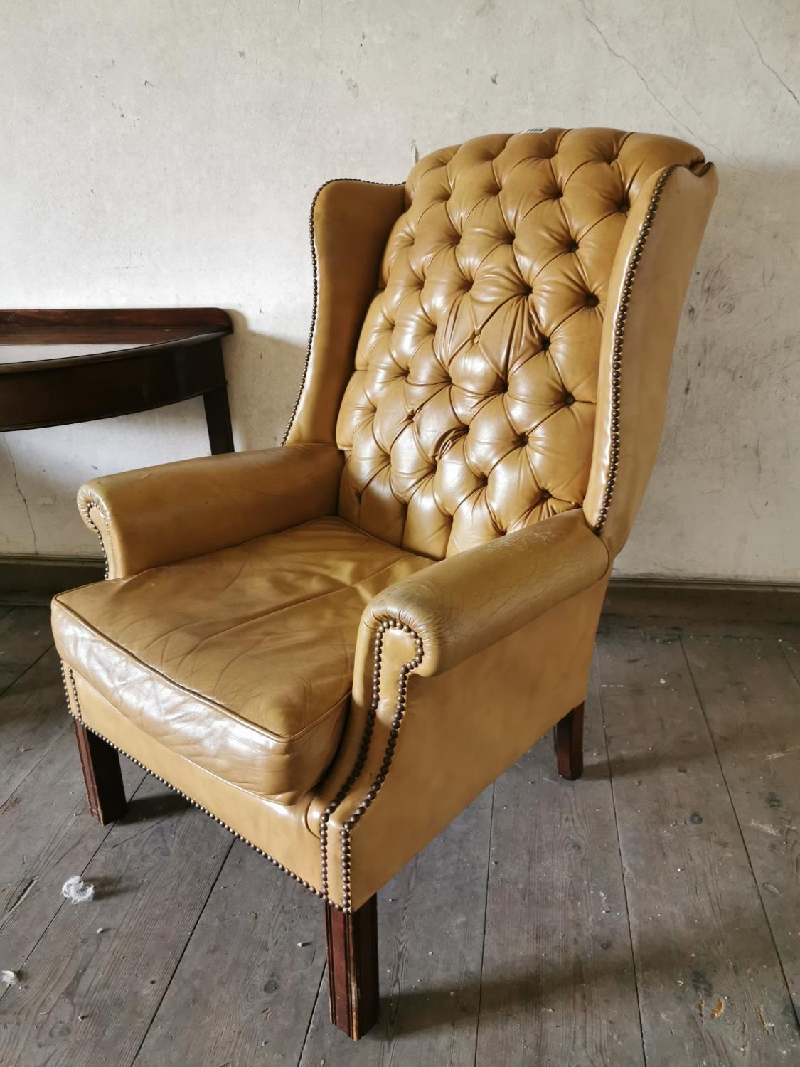 Pair of tanned leather arm chairs. - Image 2 of 2