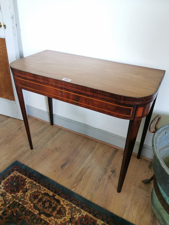 Georgian mahogany and satinwood card table.