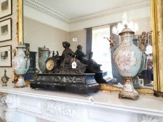 Pair of decorative ceramic lidded urns