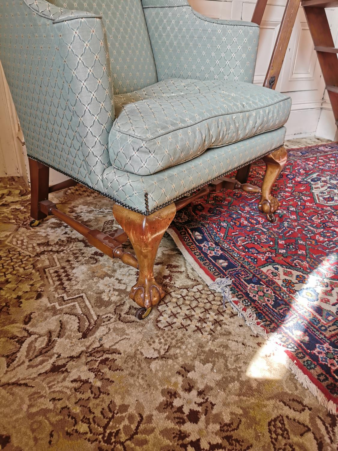 19th. C. upholstered wing backed armchair - Image 2 of 2