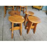 Set of four early 20th C. oak stools.