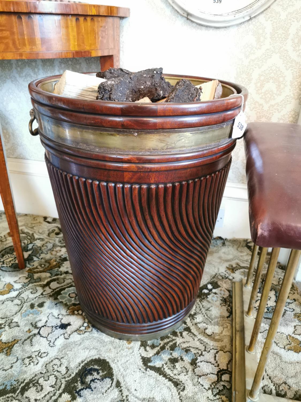 Brass bound mahogany peat bucket
