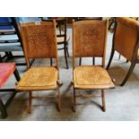 Pair of early 20th C. bentwood folding chairs.