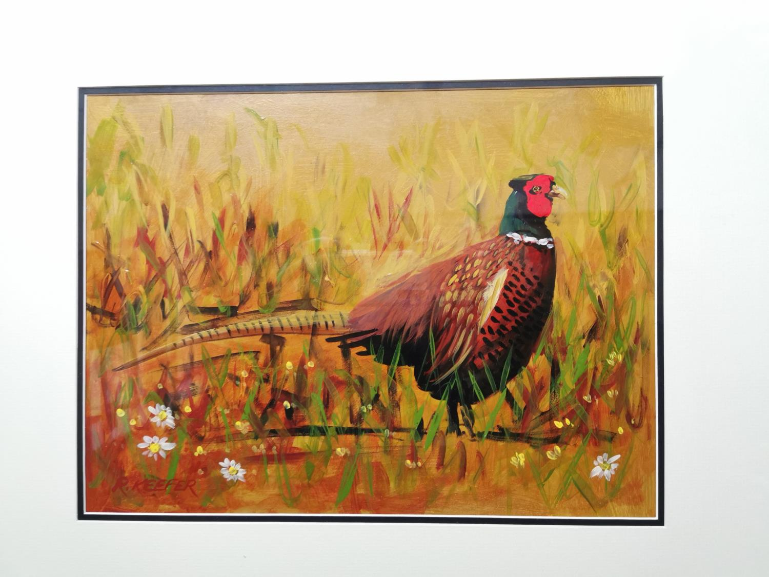 R Keefer The Cock Pheasant Watercolour - Image 2 of 2