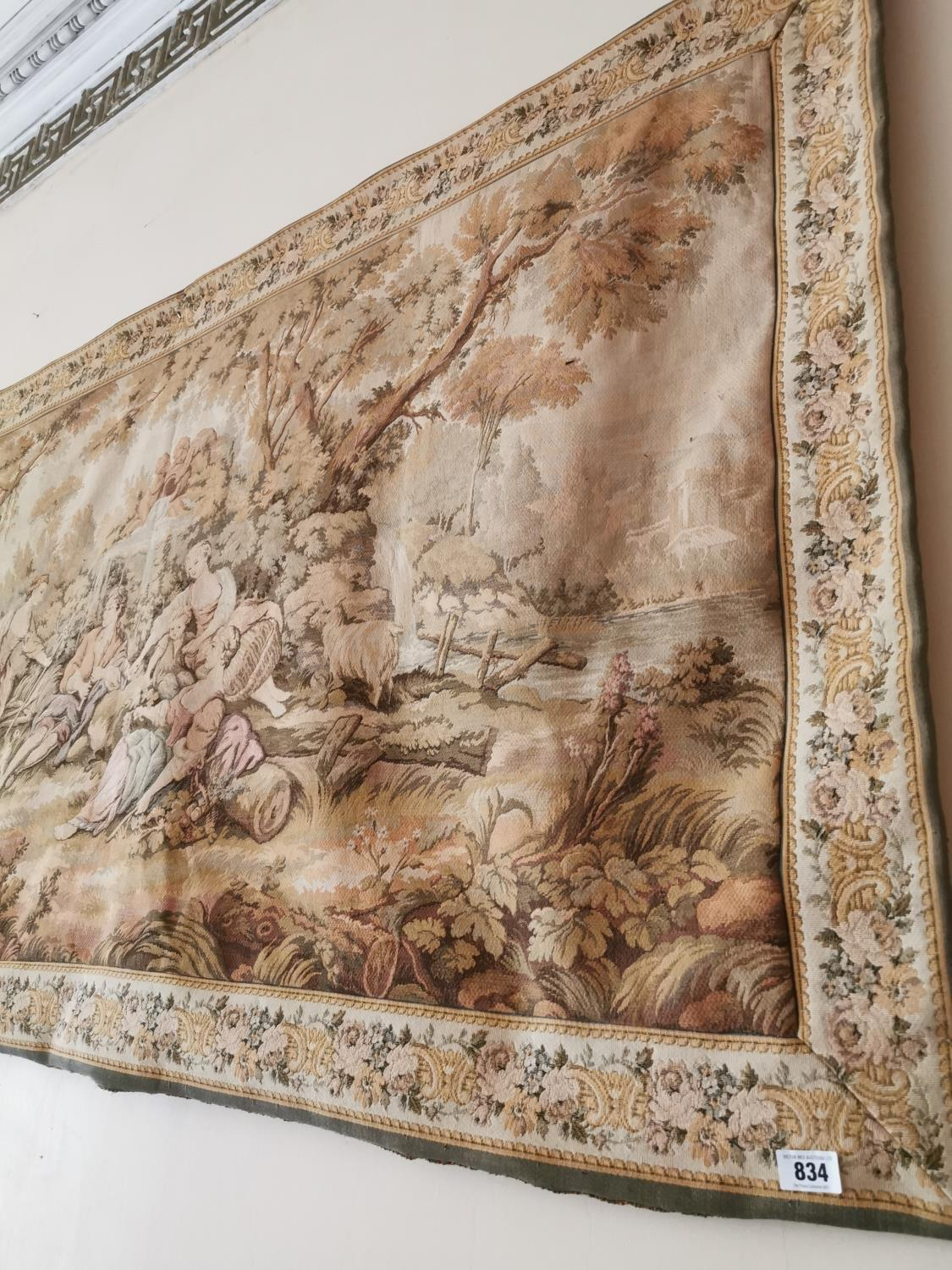 Early 20th C. tapestry Countryside scene. - Image 2 of 3