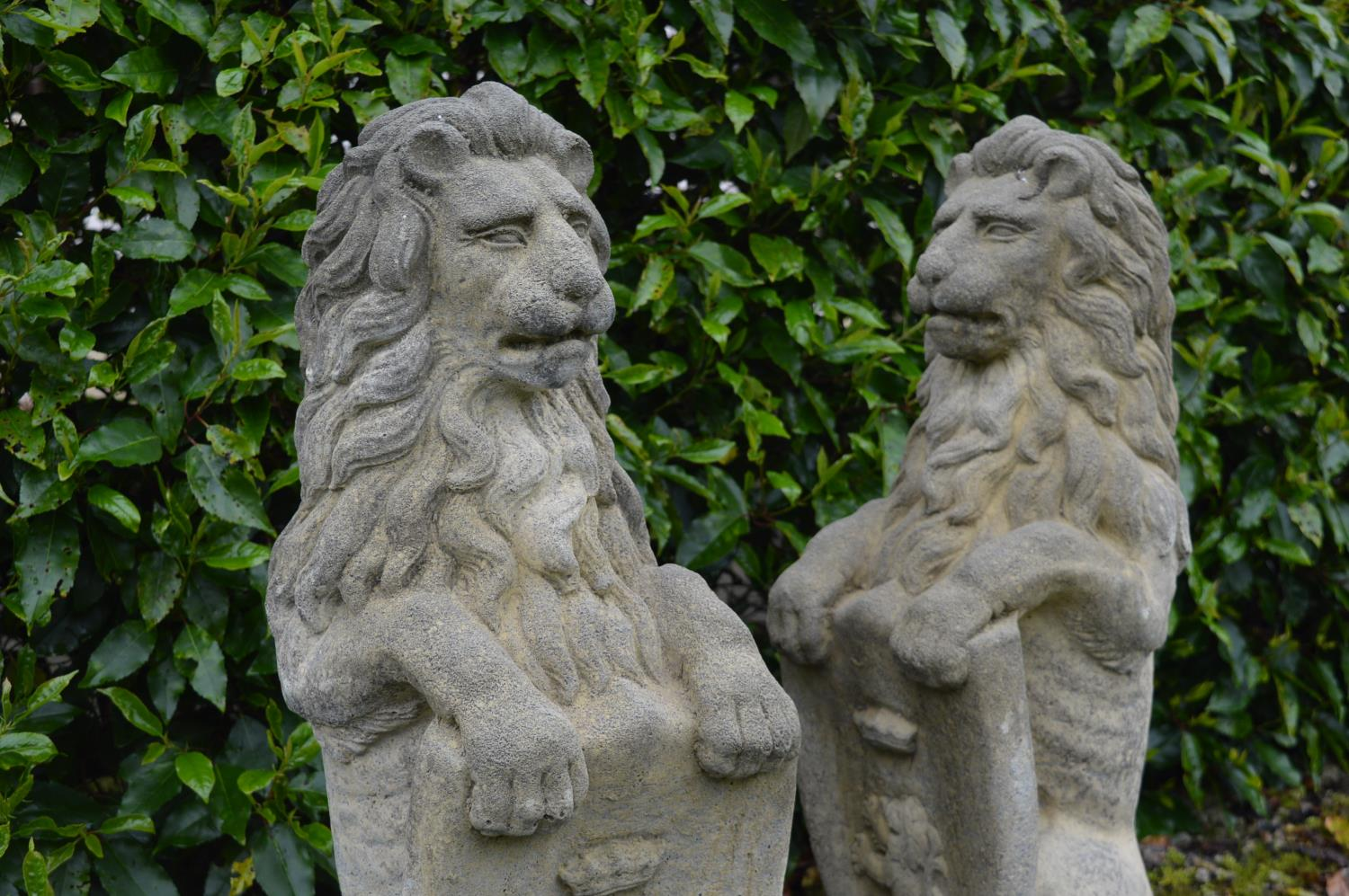 Pair of stone models of Lions. - Image 2 of 3