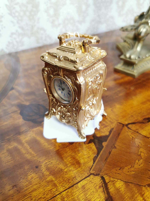 Miniature gilded brass clock - Image 2 of 2
