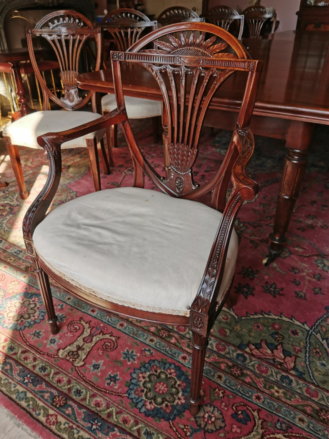 Set of ten plus two Edwardian mahogany dining chairs. - Image 3 of 6