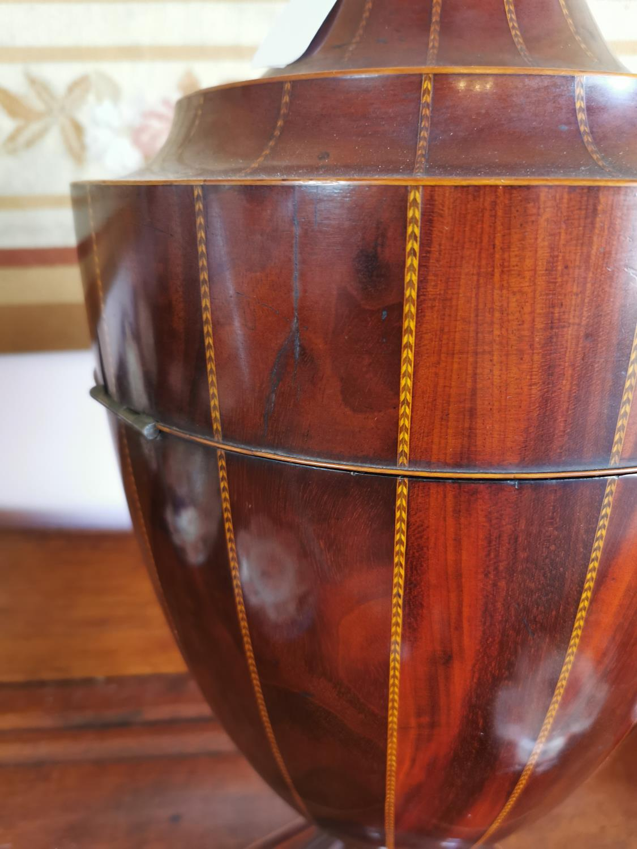 19th C. mahogany and satinwood inlaid knife box. - Image 4 of 4