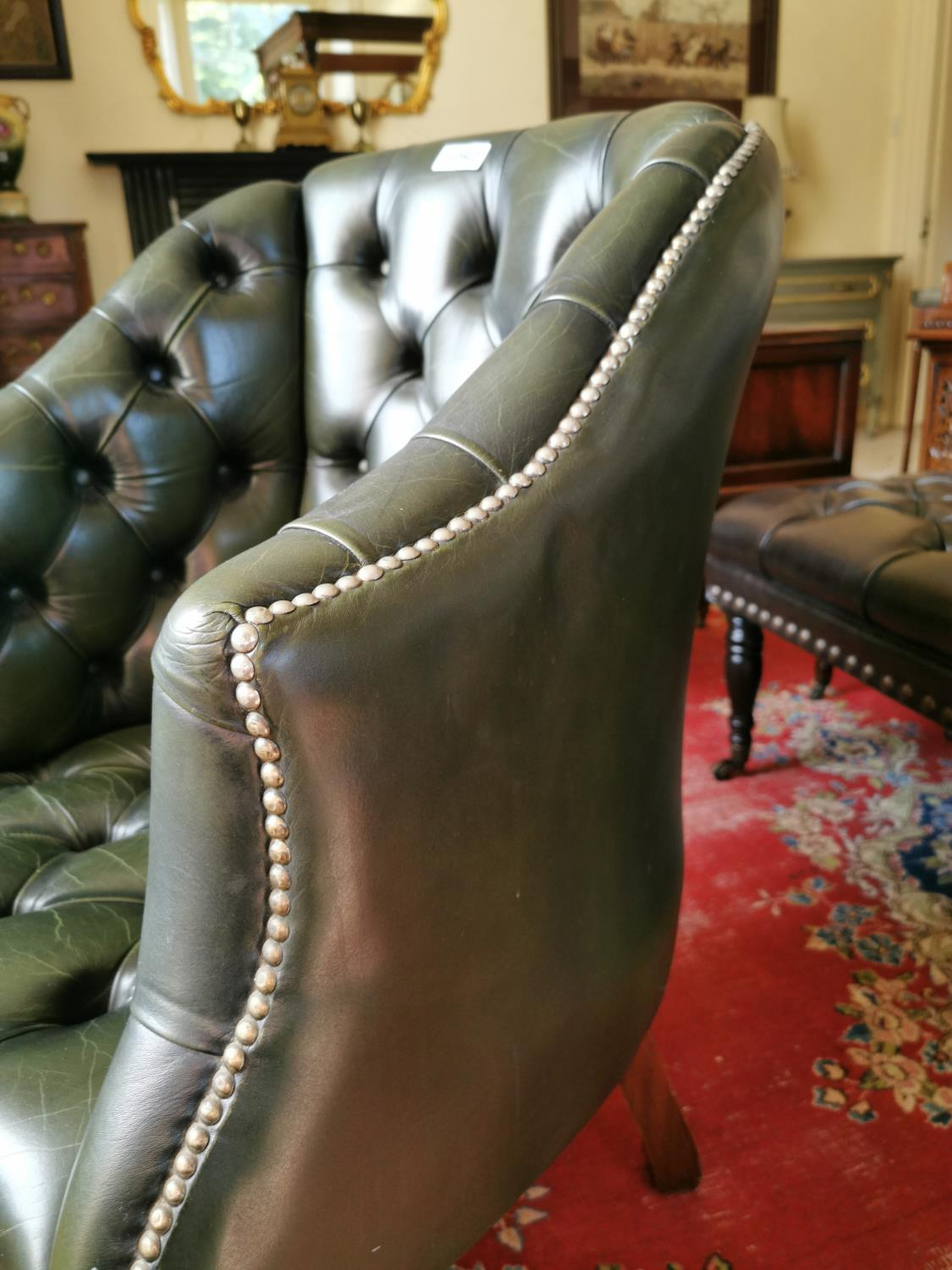 Hand dyed leather Chesterfield office chair. - Image 3 of 3