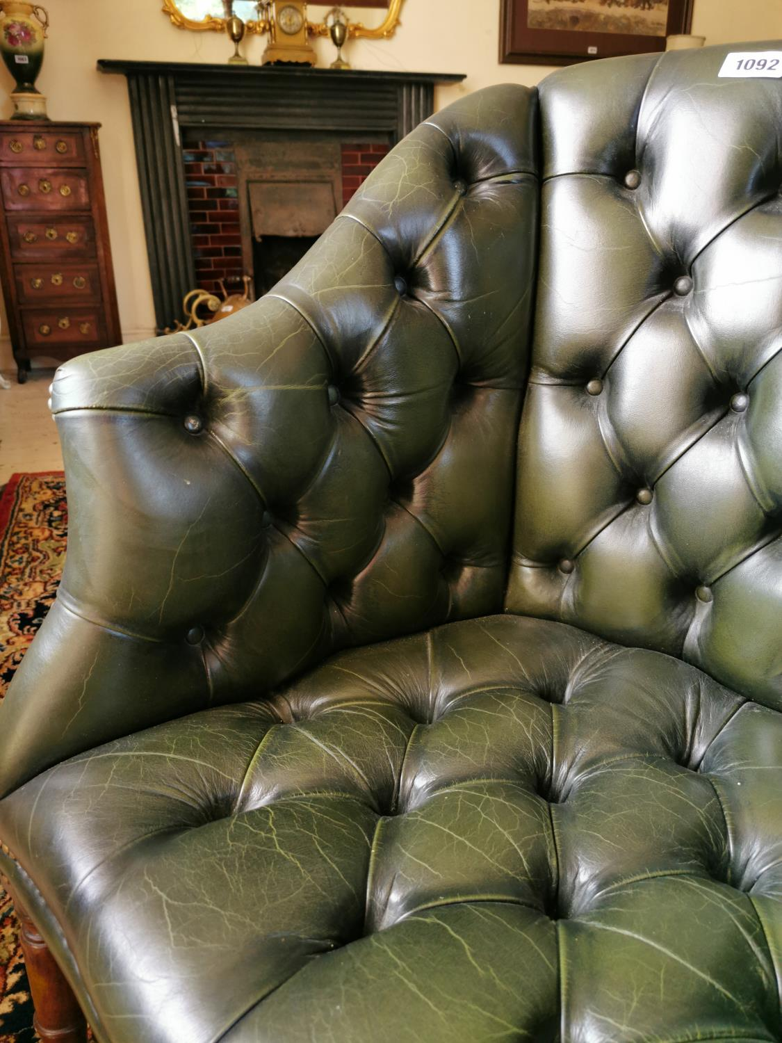 Hand dyed leather Chesterfield office chair. - Image 2 of 3