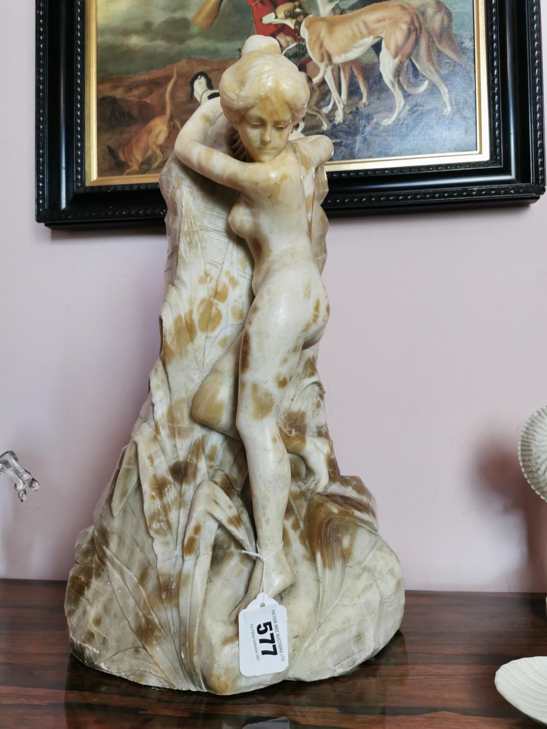 Early 20th C. carved albaster statue of Lady.