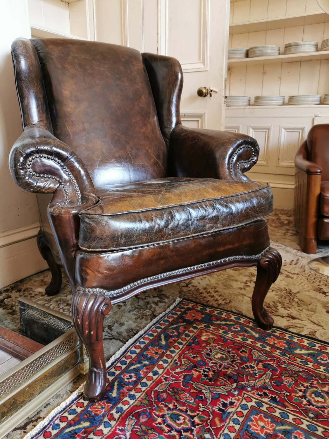 Superior quality pair of leather upholstered wing backed armchairs - Image 3 of 3